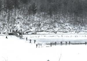 Cutting ice at Laurel Lake. There are workers with a horse on the lake and train flatbeds with a horse near the rails.
