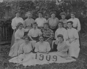 Image of a group photograph of class at Irving College in Mechanicsburg, 1909