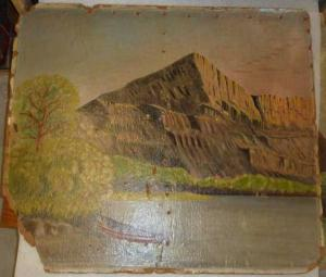 Photo of a wall mural of a mountain with lake and a small boat painted by a POW.