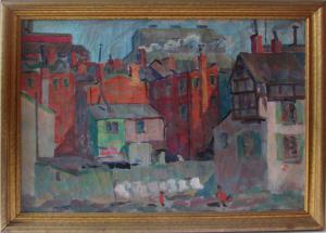 Photo of 'Manayunk', a colorful cityscape, oil on canvas.