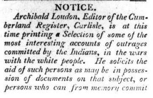Scan of an advertisement for Loudon's Narratives, or Outrages Committed By The Indians, etc