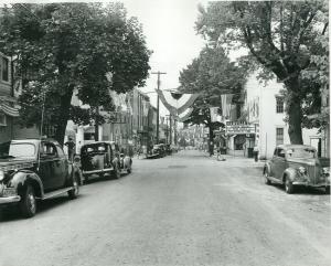 Photo of High Street in Newville, Pennsylvania, decorated for the town's sesquicentennial.