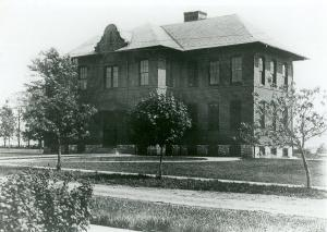 Photo of the Camp Hill High School, built in 1907, demolished in 1953, it was located at 24th and Chestnut streets.