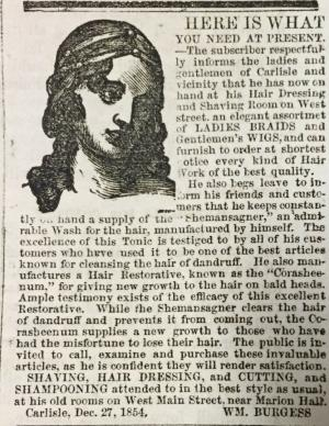 Scan of Burgess's advertisement in the Carlisle Herald, January 31, 1855.