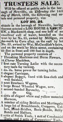 Advertisement for the sale of Milligan's property. American Volunteer, February 28, 1839.