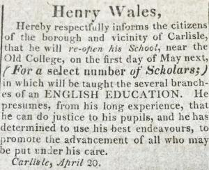 Scan of Wales Advertisement in the American Volunteer, April 27, 1826
