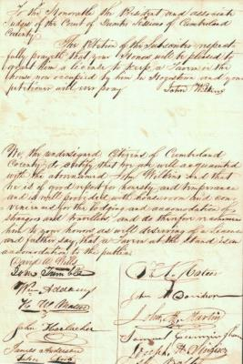 Scan of John 'Black Jack' Wilkins' 1844 petition to keep a tavern in Hogestown with the signatures of local men who attested to his ability to do so. Clerk of Courts, Tavern License Petition 1844.060.1-2. Cumberland County Archives.