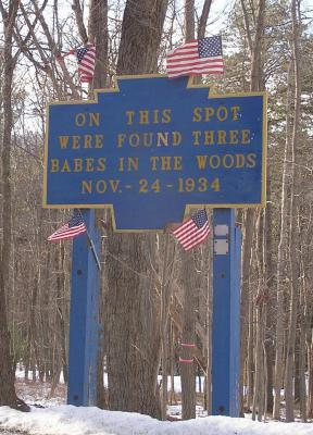 Photo of the roadside marker along Rt. 233 identifying the site.