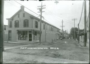 Photo by Maynard J. Hoover of A view of businesses and buildings on High Street in Newville, PA, circa 1910.