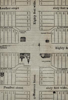 Scan of undated map, made by Carlisle printers Holcomb and Tizzard c. 1823,  shows how all the lots facing the square were shortened to make room for the new alleys