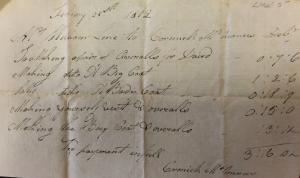 Photo of McManus's 1812 tailor bill to William Line lists the prices charged for the clothing he made for Line.