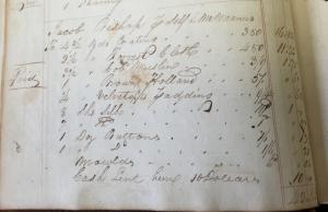 Photo of A page from a Carlisle merchant's Day Book shows the materials that McManus bought to make clothing for Jacob Bishop and charged to Bishop's account.
