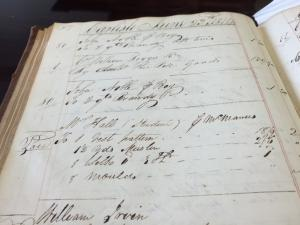 Photo of a page from a Carlisle merchant's Day Book, dated June 23, 1814, showing that Cormick McManus charged a vest pattern, 1 ½ yards of muslin, silk and eight (button) moulds to make a vest for Mr. Hall, a student at Dickinson College.