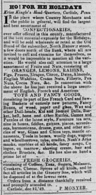 Scan of Advertisement for Peter Moyner in the Carlisle Herald, May 29, 1850
