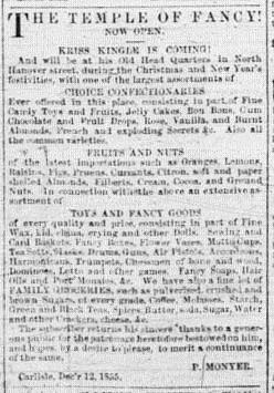 Scan of Advertisement for Peter Moyner in the Carlisle Herald, February 6, 1856
