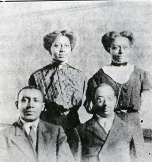 Prof. Charles E. Johnson, James G. Young, Clara Johnson, and Alice B. Butcher